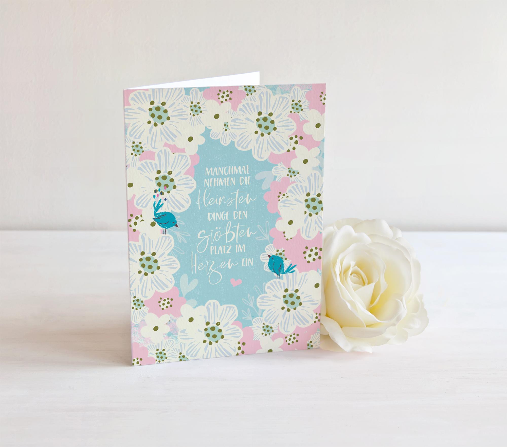 Danksagung Zur Geburt Babykarte Flower 4 Seiten